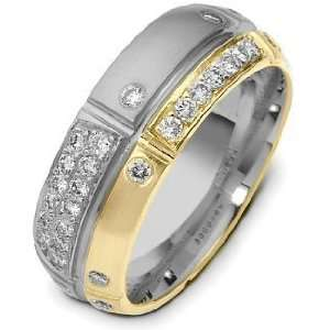 Diamond 14 Karat Two Tone Gold Wedding Band, 0.44 TCW   8
