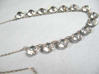 Art Deco Open Back Crystal Sterling Silver Necklace