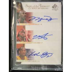 Of The Times Triple Auto  Michael Jordan, Lebron James, Kobe Bryant