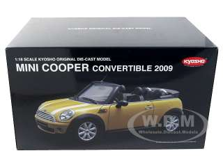 of 2009 Mini Cooper R56 Convertible Yellow die cast car by Kyosho