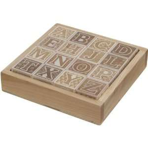 Natural ABC Block Set with Wooden Tray Baby
