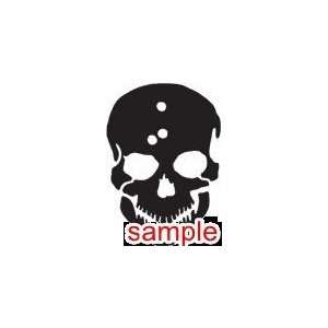 EVIL BULLET HOLE SKULL WHITE VINYL DECAL STICKER