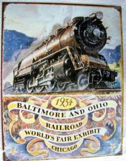 Vintage Style Tin Metal Sign Baltimore & Ohio Railroad 1934 Chicago