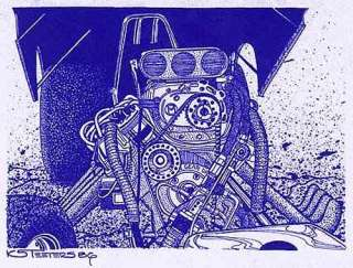 Funny Car Supercharged Hemi Drag Racing Engine Diazo Blue Print Art