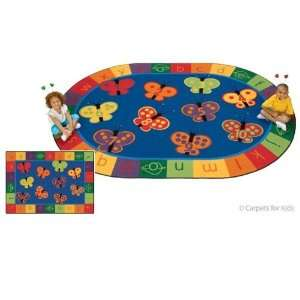 123 ABC Butterfly Fun Rug 5ft.5in. x 7ft.8in. Oval