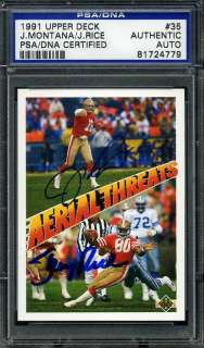 on an Personally Autographed 1991 Upper Deck Joe Montana & Jerry Rice