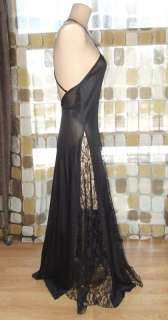 VTG 80s Avant Garde Lace Illusion Full Sweep Goddess Nightgown Gown L