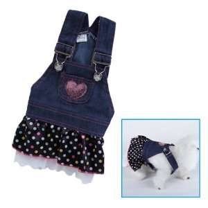 Pet Dog Apparel Clothes Costume Dress Denim Skirt M