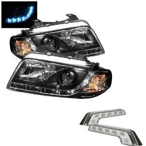 Carpart4u Audi A4 1PC DRL LED Black Projector Headlights and LED Day