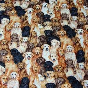 fq Patchwork Fabric Makower UK Labrador Retriever Dogs