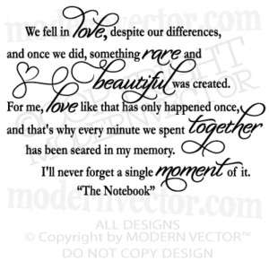 Notebook Movie Quote WE FELL IN LOVE Vinyl Wall Decal