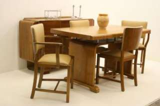 Art Deco 1930s Walnut Table & 4 Chairs & Sideboard