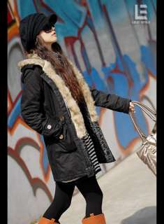 D7002 Japan Korea Fashion Women Ladies New Black Faux Fur Hood Winter