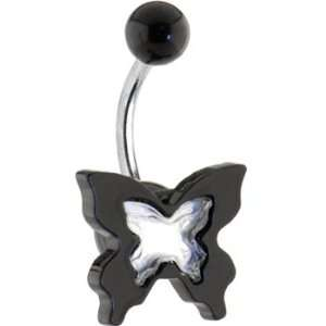 Black Mirror Butterfly Belly Ring Jewelry