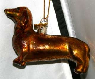 NEW Kurt Adler Black DACHSHUND DOG Holiday Xmas Tree Ornament Glass