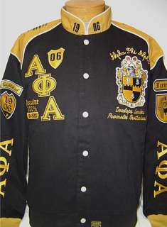New Black & Gold Alpha Phi Alpha Fraternity Inc. Racing Style Jacket