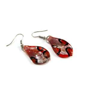 Lava Flow Foil Glass Dangle Fashion Earrings
