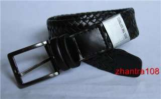 BEENE Mens New Casual Braided Leather Belt size 44 / 110 Black ~ NWT