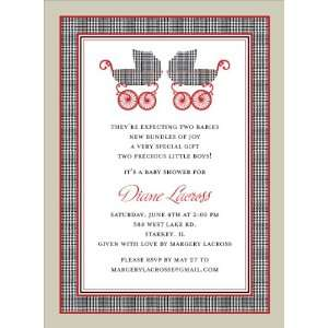Prince of Wales Pram Twins Baby Shower Invitations