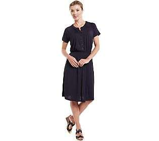 ISAAC MIZRAHI LIVE Stretch Rayon Dress with Waist Smocking BLACK 1X
