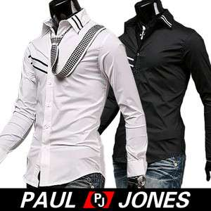NEW Mens Slim Business Korea Casual Dress Shirts 4Sizes 3Colors