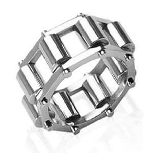 Mens Stainless Steel Chain 14mm Caterpillar Ring (10) Jewelry