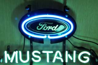FORD MUSTANG AUTO CAR DEALER BEER BAR REAL NEON GLASS TUBE LIGHT SIGN