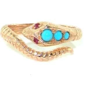 Fabulous Solid Rose Gold Natural Turquoise & Ruby Detailed Snake Ring
