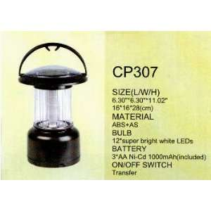 Black Solar Powered Camping Lantern With Wall Adapter