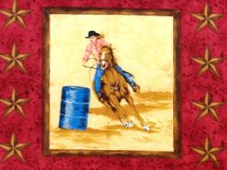New Barrel Racing Girls Fabric BTY Horse Rodeo Western Country 35