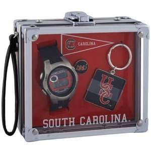 South Carolina Gamecocks Mens Rock Box Watch/Accessory Set
