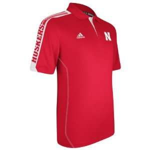 Nebraska Cornhuskers Red adidas 2012 Football Sideline Swagger Polo