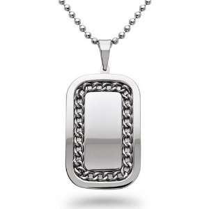 Stainless Steel Curb Link Dog Tag Necklace   30IN Jewelry