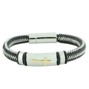 Stainless Steel Silver Gold Two Tone Religious Cross Mens