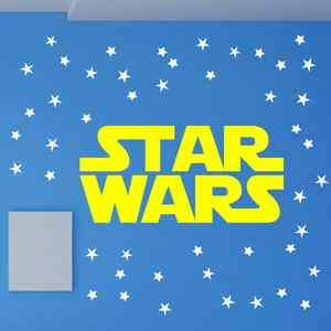 STAR WARS TITLE LOGO DARTH VADER YODA Quote Vinyl Wall Decal Decor Art