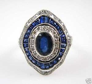 Ladies 14K White Gold Sapphire Diamond Ring 3.24ctw.