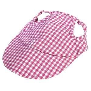 Pet Dog Clothing Apparel Gingham Hat Cap Pink Medium