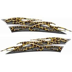 Reflective Lepard Print Motorcycle Gas Tank Flame Decals Automotive