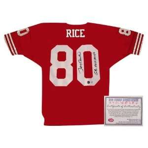 Rice San Francisco 49ers NFL Hand Signed Authentic Style Away Red
