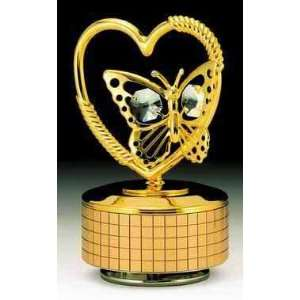 Butterfly Heart Gold Plated Swarovski Crystal Music Box