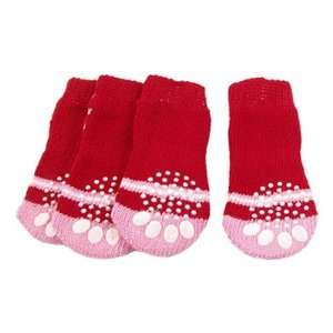 PCS Antiskid Red Pink Knitted Dog Pet Socks 3.3 x 1.5