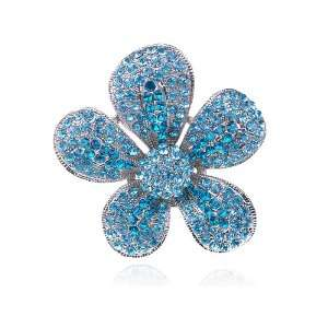 Deep Ocean Blue Small Crystal Rhinestone Costume Jewelry Flower Ring