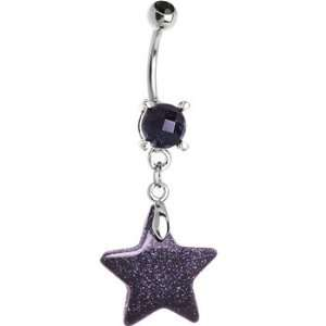 Natural Blue Goldstone Star Belly Ring Jewelry