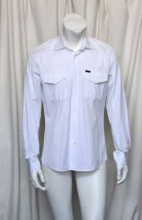 Mens White Cotton Button Down Dress Shirt+Epaulettes 41/16
