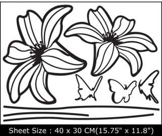 LILY FLOWER Removable Vinyl Wall Sticker Decals EUN 55