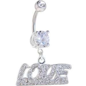 Crystalline Gem Love Dangle Belly Ring Jewelry