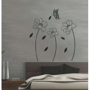 Modern House Black Lotus and Flying Butterflies removable