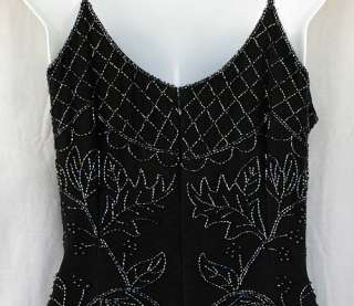 Silk Beaded Black Formal Full Length Gown Sean Collection Womens Size