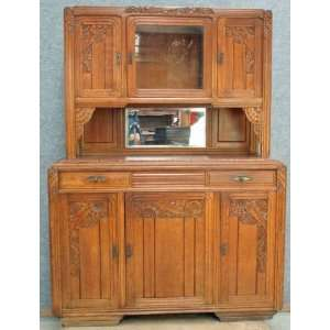 1930 French Red Art Deco Oak Buffet Pretty red marble