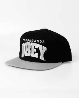 Obey Throwback Snapback Cap Hat Black / Silver